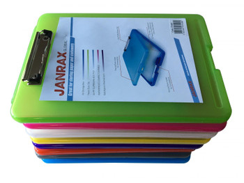 Pack of 12 Assorted Colour A4 Clipboard Box Files