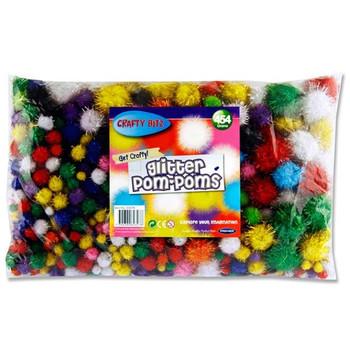 Bag of 454g Assorted Glitter Pom Poms by Crafty Bitz