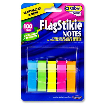 Pack of 100 Sheets Neon Pop Up Flag Page Markers by Stik-Ie