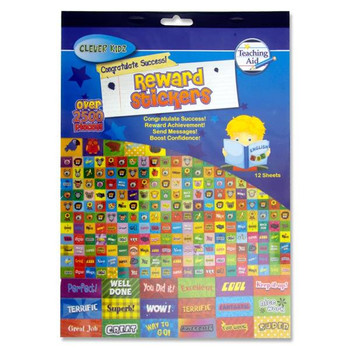 Book of 12 Sheets of 2500+ Deluxe Reward Stickers by Clever Kidz