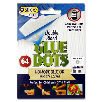 Pack of 64 6mm Double Sided Glue Dots by Stik-Ie