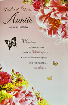 Just For You Auntie Floral Design Birthday Card