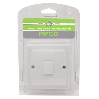 1 Gang 1 Way Wall Switch - 10Amp 230V A.C by Pifco