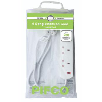 4 Gang 13Amp 250V A.C Plug Sockets with 2 Metre Extension by Pifco