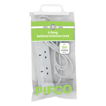 4 Gang 13Amp 250V A.C Plug Sockets with 2 Metre Extension and Switched by pifco