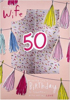 50th Birthday Card for Wife from Hallmark Die-Cut 3D Design