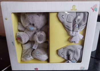 "4"" Tiny Tatty Teddy Bear Mittens & Socks Baby Gift Set"