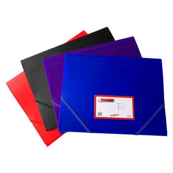 Pack of 12 A4 Assorted Colour 3 Flap Folders with Elasticated Closure