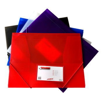 Pack of 12 A4 Clearview Assorted Colour 3 Flap Folders with Elasticated Closure