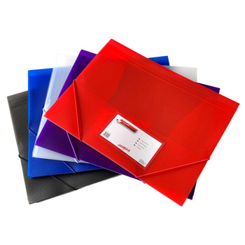 Pack of 120 A4 Clearview Assorted Colour 3 Flap Folders with Elasticated Closure
