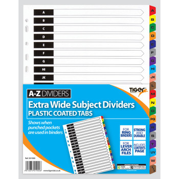 A4 A-Z Extra Wide Dividers Index Tab Content Cover Letter Punch Pocket 301900