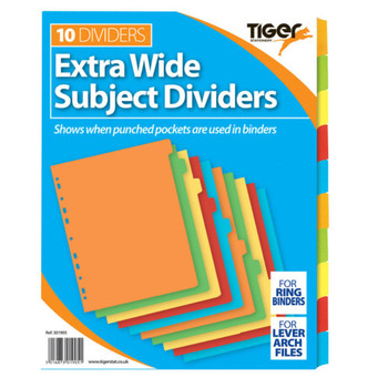 A4 10 Part Extra Wide Colour Coded Strong Filing Subject Tabbed Index Dividers