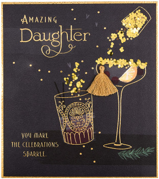 Amazing Daughter Cocktail Glass Design Glitter Finished Christmas Card