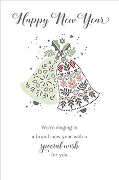 Christmas Bells Design Happy New Year Card x 6