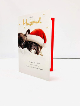 For My Husband Cute Puppies Design Christmas Card