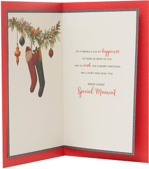 Wonderful Mum And Dad Wreath Design Nice Verse Christmas Card