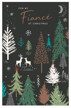 For My Fiance Christmas Tree Night Scene Design Christmas Card