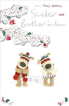Very Lovely Sister And Brother In Law Silver Foil Finished Boofle Christmas Card