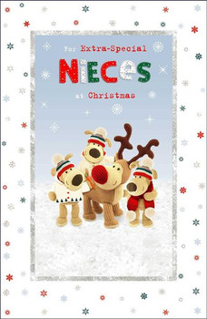 Extra Special Nieces Boofle Family In Snow Design Christmas Card