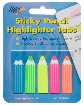 100 Sticky Note Pencil Highlight Tabs (Page Markers) Index Tabs