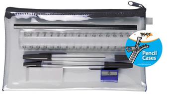 12 x Filled Clear Exam Pencil Case Set - Stationery Pens Pencil Sharpener Eraser Ruler