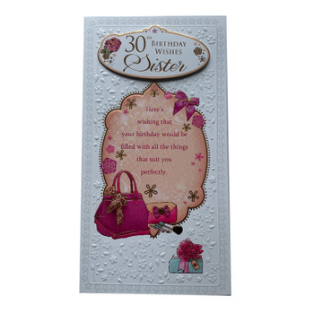 30th Sister Birthday Soft Whispers Card