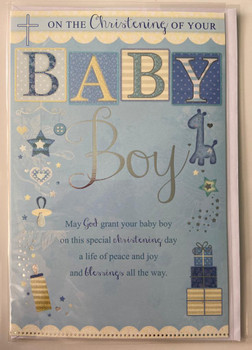 Baby Boy Sentimental Verse Christening Card