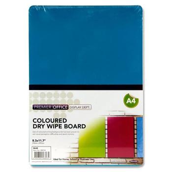A4 Blue Coloured Dry Wipe Board by Premier Office