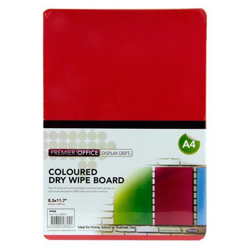 A4 Pink Coloured Dry Wipe Board by Premier Office