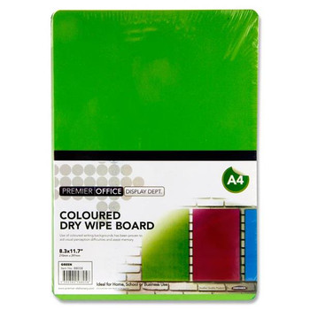 A4 Green Coloured Dry Wipe Board by Premier Office