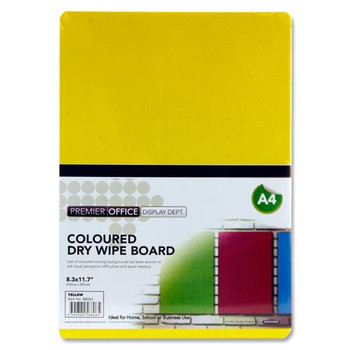A4 Yellow Coloured Dry Wipe Board by Premier Office