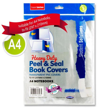 Pack of 5 A4 Heavy Duty Peel and Seal Book Covers by Student Solutions
