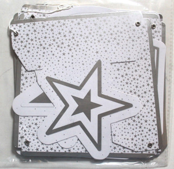 Christmas All Occasion Decorative Banner & Bbunting Party Celebrate and Stars Design White Silver
