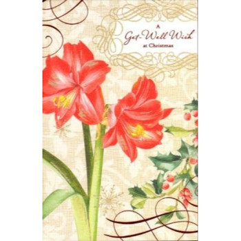 A get Well Wish with Flowers at Christmas Card