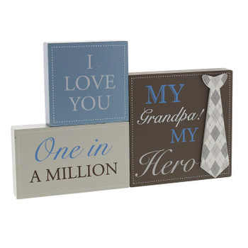 My Grandpa My Hero set of 3 mantel Tie  plaque blocks - Tie design - One in a Million, I Love You