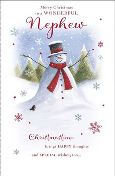 Christmas Card for Nephew Traditional Snowman Design