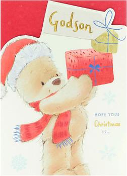 Godson Christmas Card Festive Teddy Bear Design
