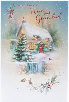 Nan and Grandad Grandparents Christmas Card Traditional Christmas Scene Design