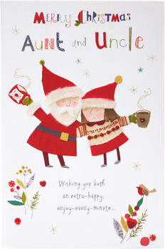 Auntie and Uncle Christmas Card Special Sweet Santa and Mrs Clause Design