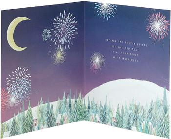 Happy New Year Card Beautiful Firework Design