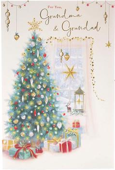 Christmas Card for Grandparents Grandma and Grandad Traditional Christmas Tree Design