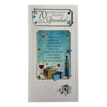 70th Birthday Wishes To A Special Grandad Birthday Card Wine Presents 3D Foil Detail