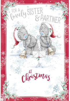 For a Lovely Sister And Partner Tatty Teddies With Xmas Bell Design Christmas Card