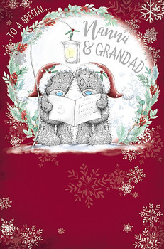 To a Special Nanna And Grandad Tatty Teddies Reading Card Design Christmas Card