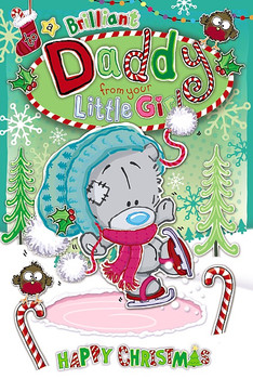 Brilliant Daddy From Little Girl Tatty Teddy Doing Ice Skating Design Christmas Card