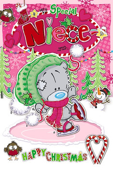 Very Special Niece Dinky Bear Doing Ice Skating Design Christmas Card
