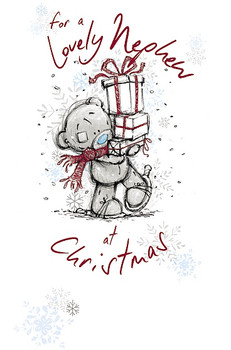 For a Lovely Nephew Tatty Teddy Carrying Gifts Design Christmas Card