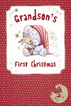 For Grandson Tatty Teddy Hugging Reindeer Design First Christmas Card
