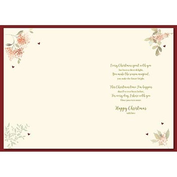 Beautiful Flowers Wife Handmade Lovely Verse Christmas Card