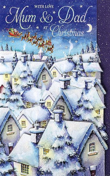 3D Snowy Roof Tops Mum And Dad Large Handmade Christmas Card